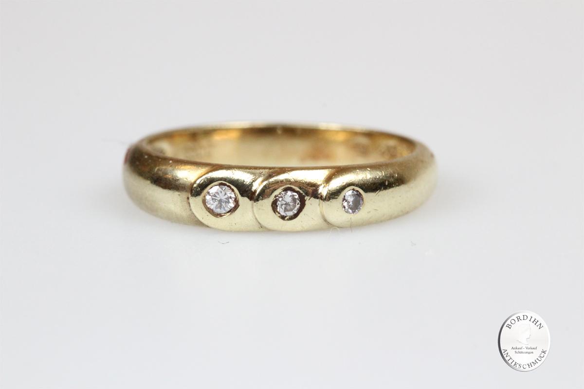 Ring 14 Karat Gold 3 Brillanten Schmuckring Bandring Goldring Geschenk