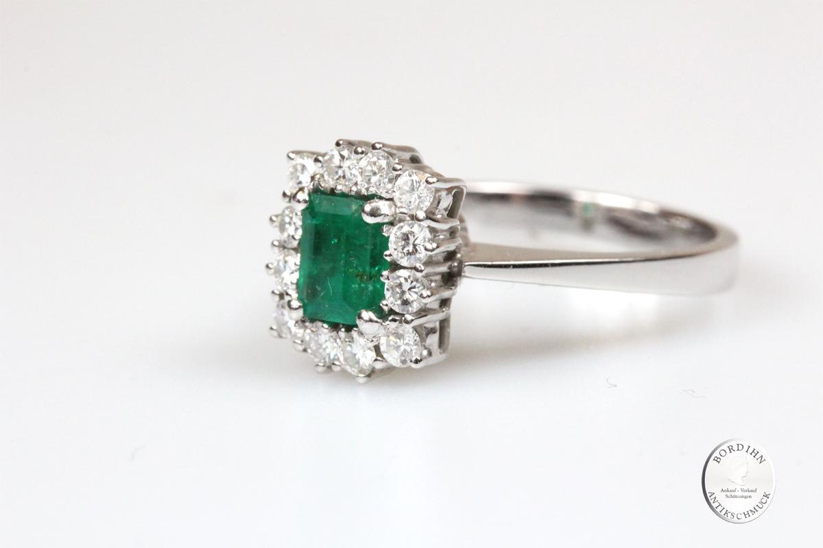 Ring 18 Karat Gold Brillant Smaragd Goldring Edelsteine Schmuck Damen