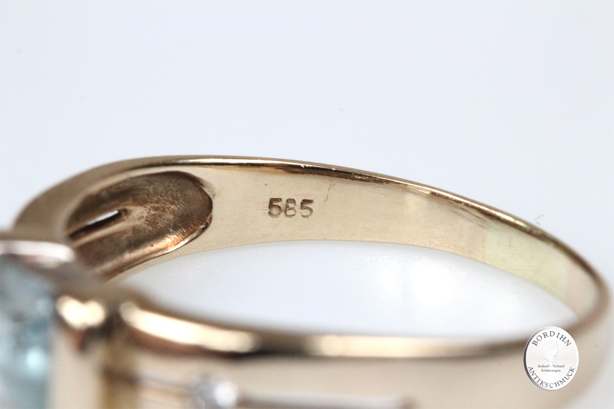 Ring 14 Karat Gold Blautopas Brillanten Schmuckring Goldring Geschenk