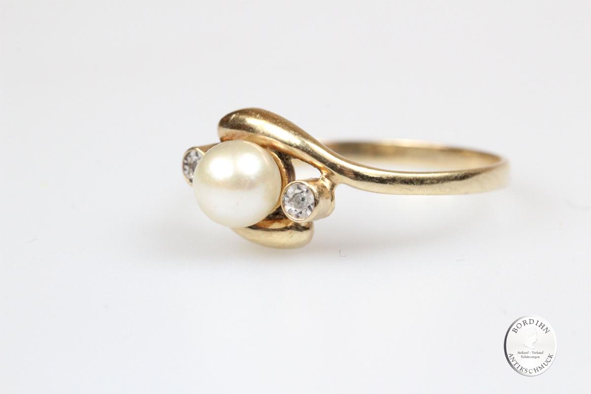 Ring 14 Karat Gold Perle Brillanten Schmuckring Perlenring Damenring