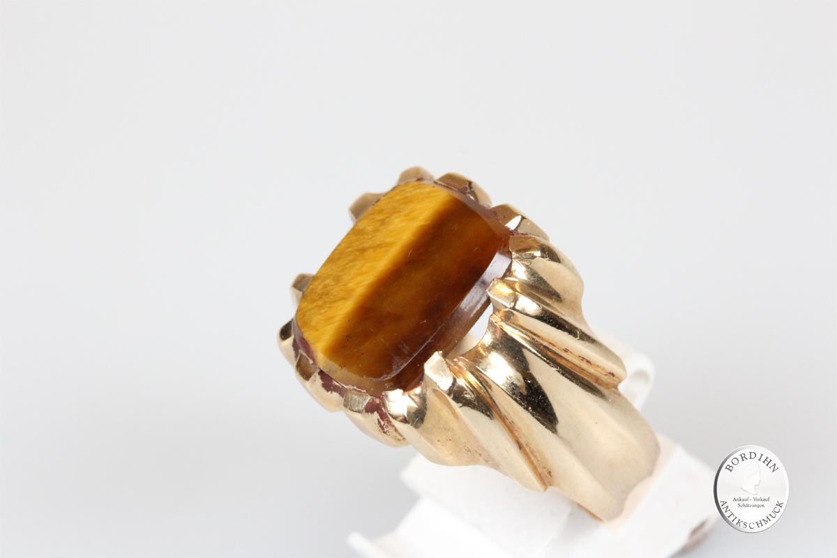 Ring 14 Karat Gold Tigerauge Goldring Schmuckring Herrenring antik