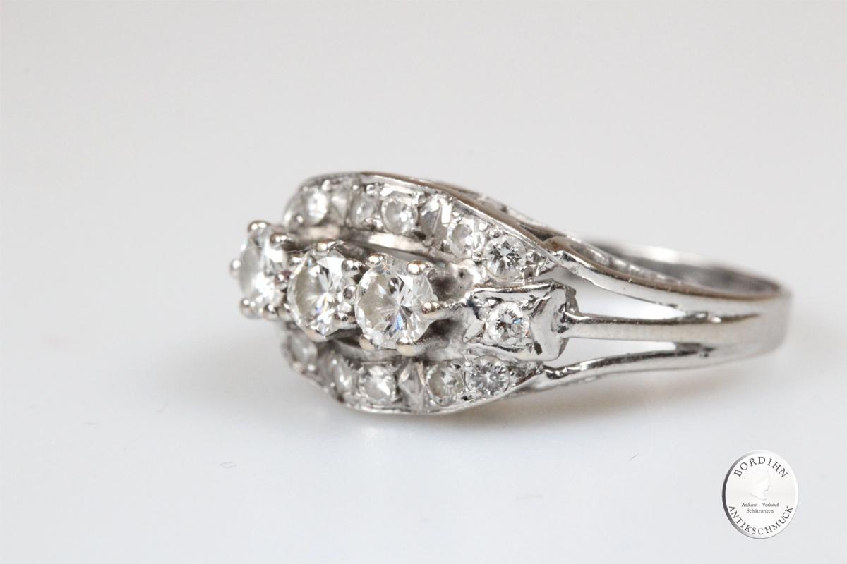 Ring 14 Karat Weißgold Brillanten Fingerring Schmuckring Diamant Damen