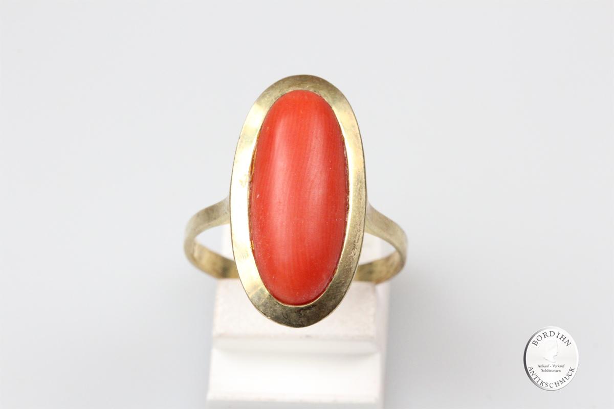 Ring 8 Karat Gold Koralle Schmuckring Goldring Fingerring Edelstein