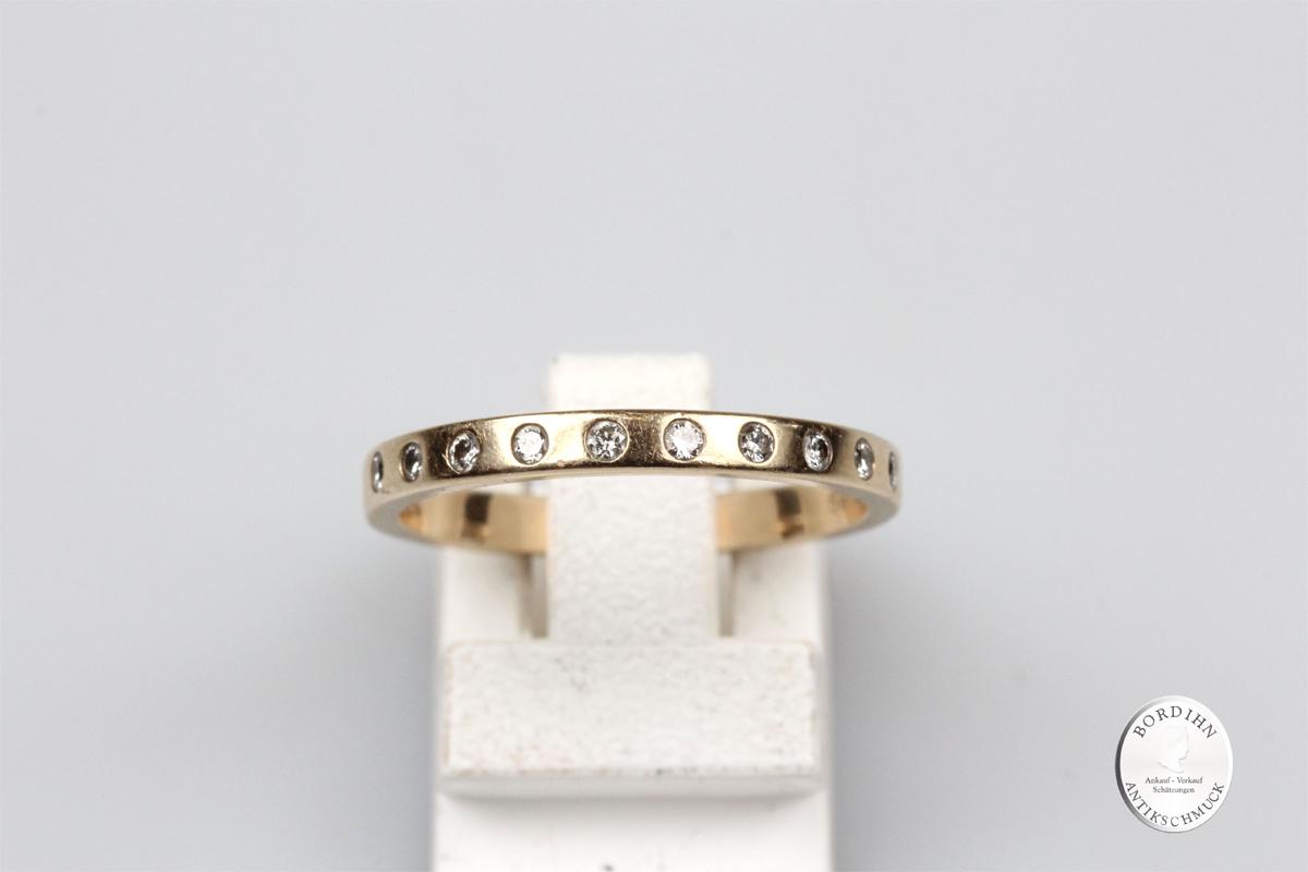Ring 14 Karat Gold 10 Brillanten Goldring Bandring Schmuckring Diamant