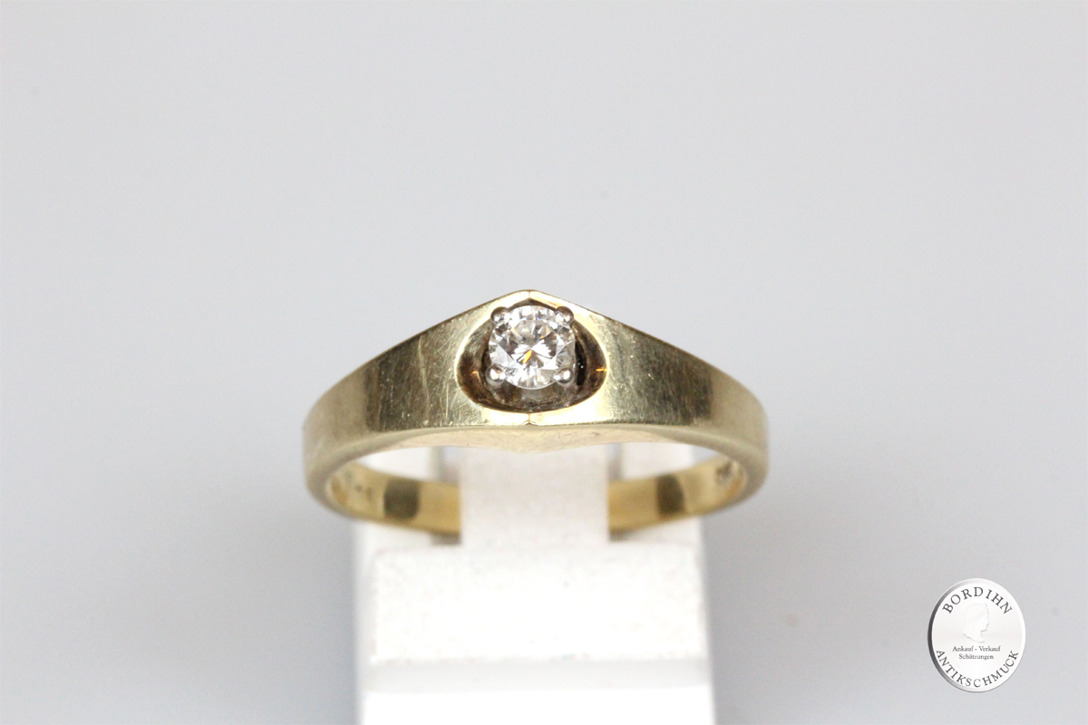 Ring 14 Karat Gold Brillant 0,15ct Goldring Diamant Schmuckring Damen