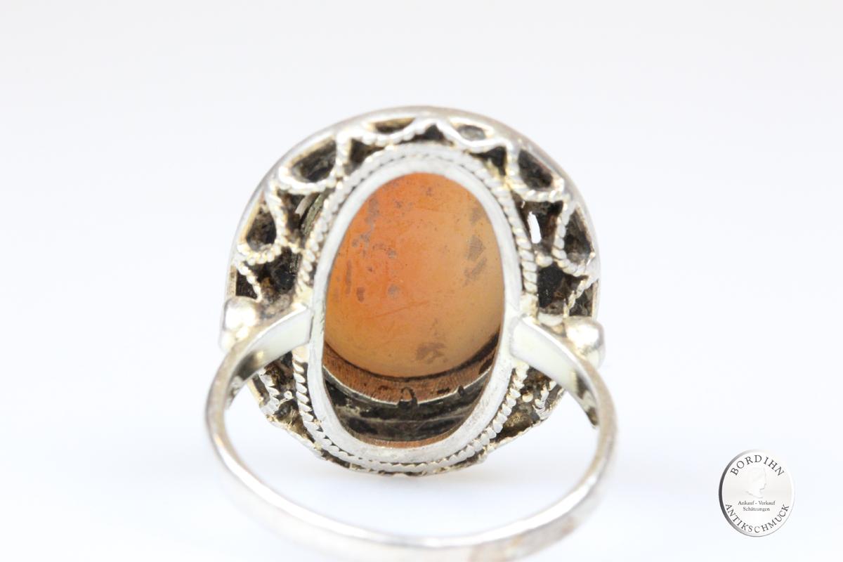 Ring 925 Silber Gemme Fahrner Schmuck signiert guillochiert antik