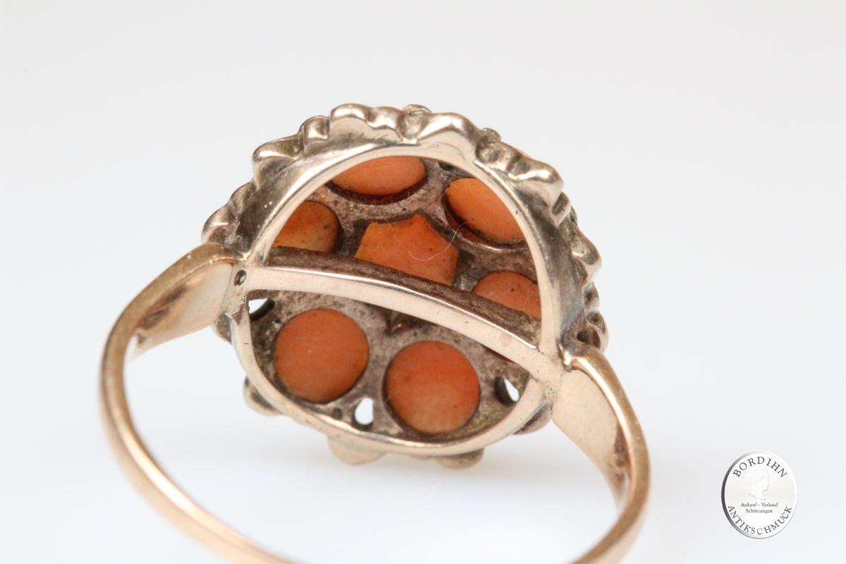 Ring 14 Karat Gold Korallen Schmuck Goldring Damenring antik Schmuck