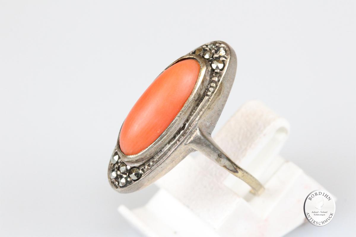 Ring 8 Karat Gold Koralle Ringkopf Silber Markasit Fingerring Damen
