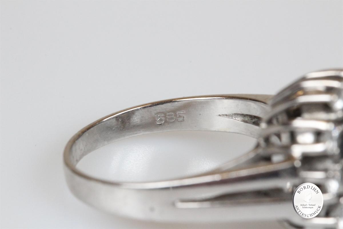 Ring 14 Karat Gold Saphir Brillanten Weißgold Goldring Schmuckring