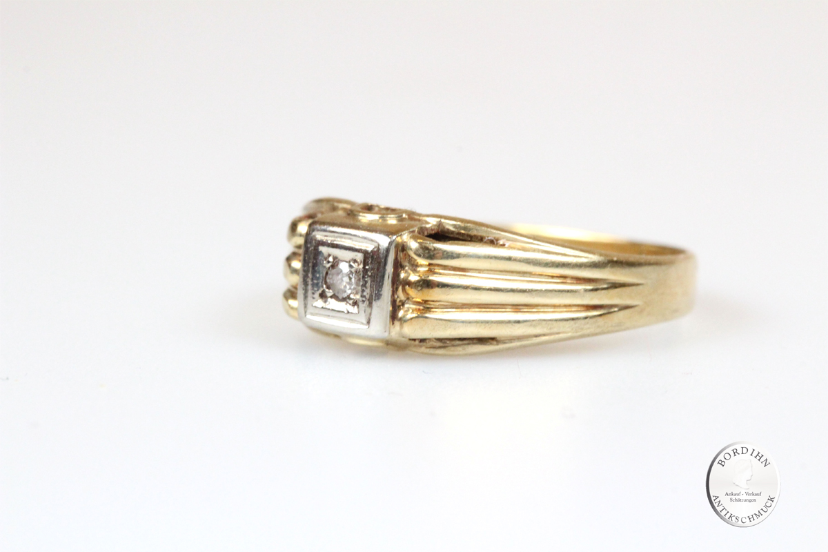 Ring 14 Karat Gold mit Brillant Goldring Schmuckring Diamant Edelstein