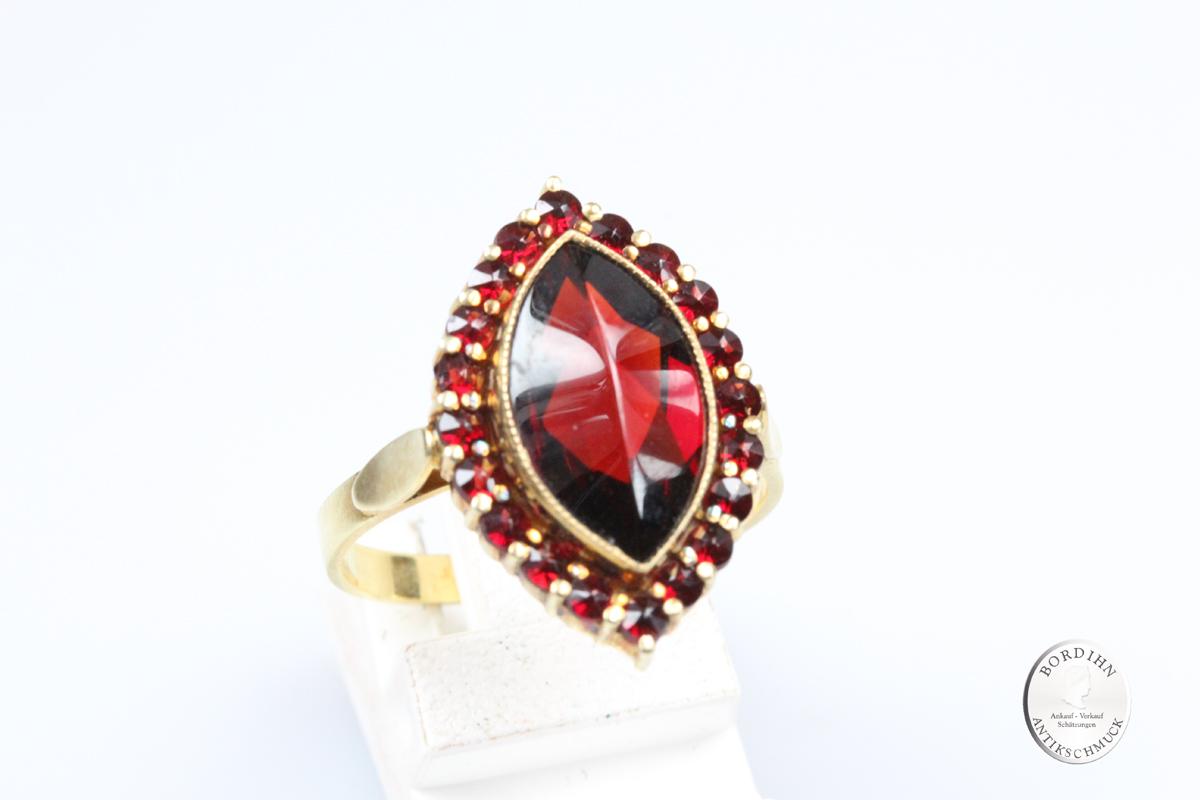 Ring 925 Silber vergoldet Granatschmuck Schmuckring Damenring Geschenk