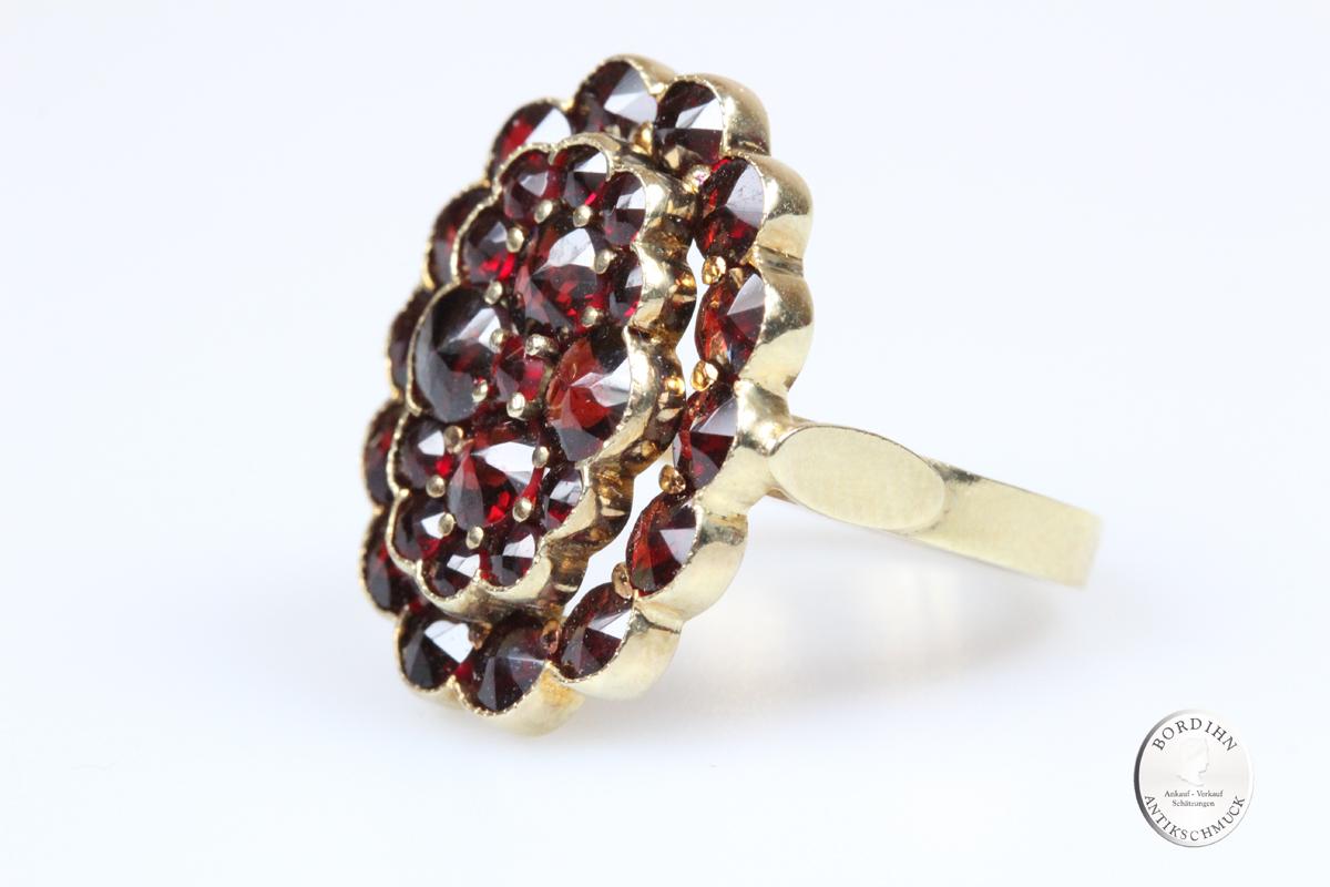 Ring 925 Sterling Silber vergoldet Granatschmuck Schmuckring Damen neu