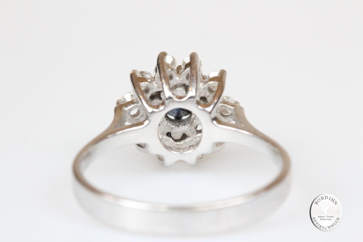 Ring 14 Karat Gold Saphir Brillanten Schmuckring Goldring Weißgold