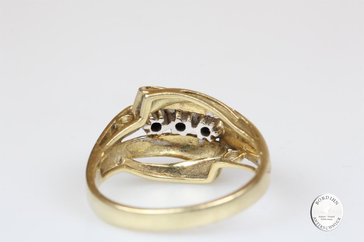 Ring 14 Karat Gold Brillant 2 Saphire Goldring Schmuckring Edelsteine