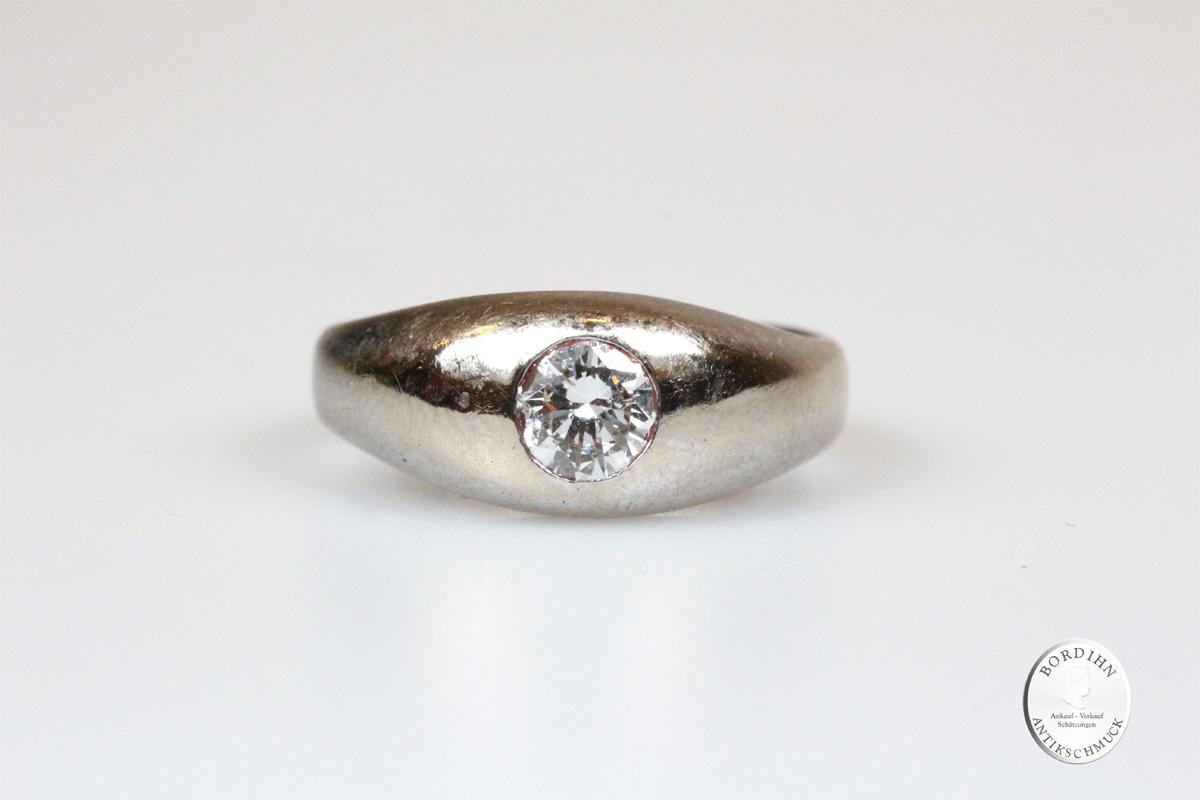 Bandring 14 Karat Weißgold Brillant Goldring Diamant Ring Schmuck Gold