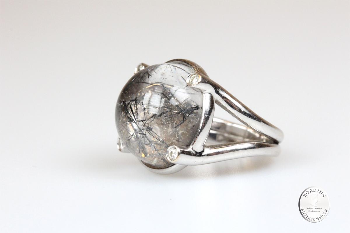 Ring 18 Karat Weißgold Rutilquarz 4 Diamanten Goldring Schmuckring