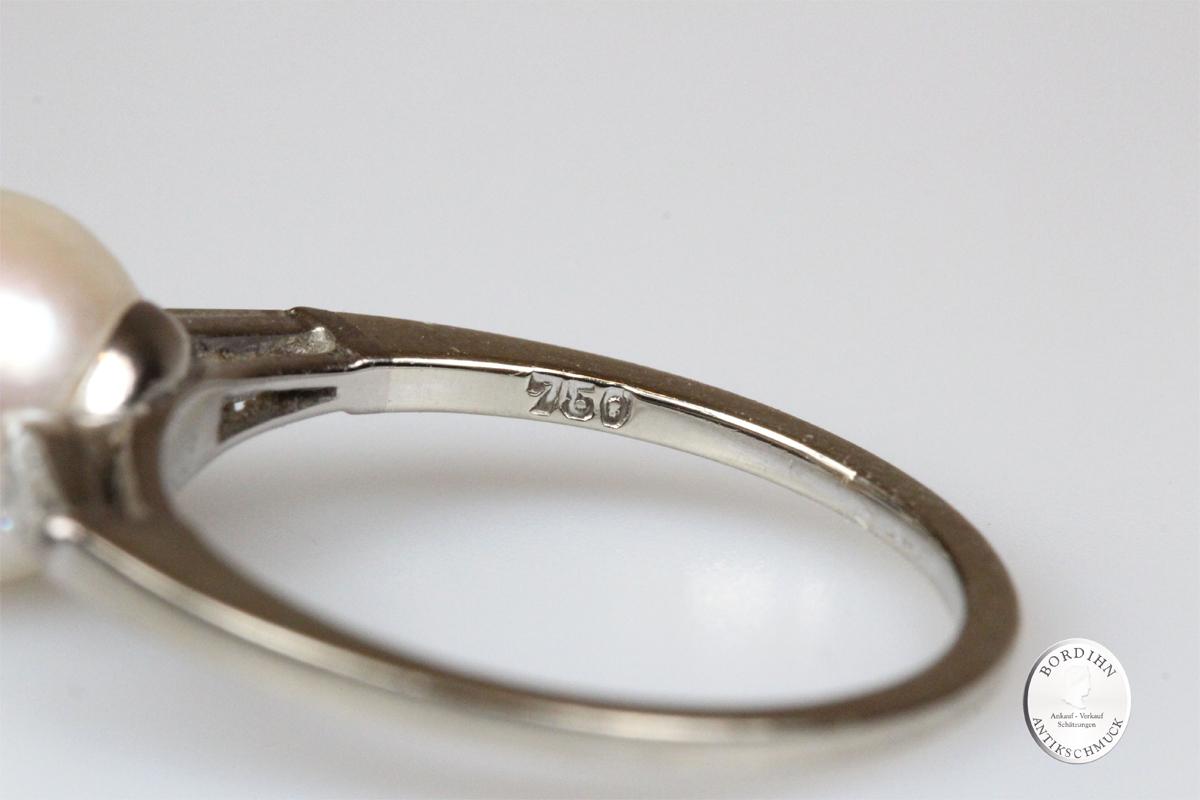 Ring 18 Karat Weißgold Perle Brillant Gold Schmuck Damenring Geschenk