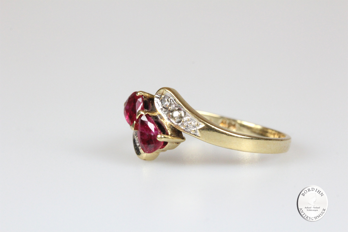 Ring 14 Karat Gold 4 Brillanten 2 Rubine Goldring Schmuckring