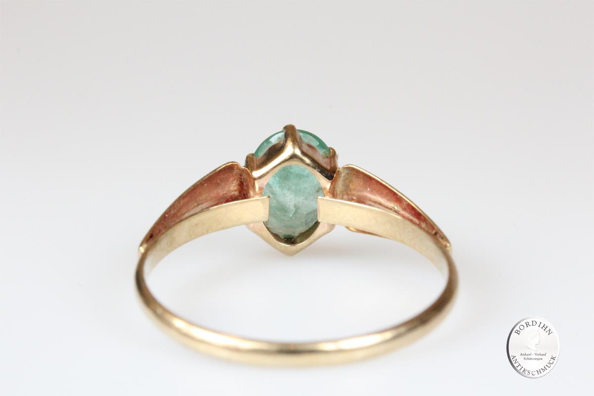 Ring 8 Karat Gold mit Smaragd Schmuckring Goldring Edelstein Geschenk