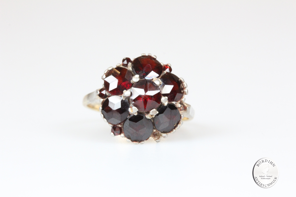 Ring 8 Karat Gold mit Granat Goldring Schmuckring antik Damen Geschenk