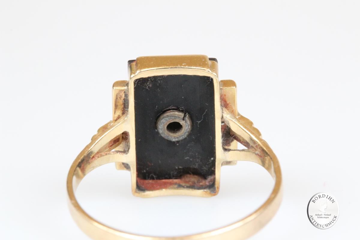 Ring 14 Karat Gold Onyx Brillant Goldring Schmuckring antik Geschenk
