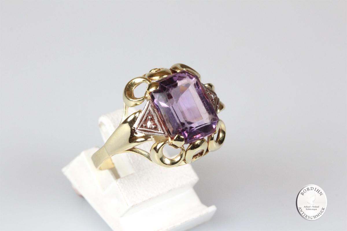 Ring 14 Karat Gold Amethyst Diamant Goldring Edelsteine Schmuck Geschenk