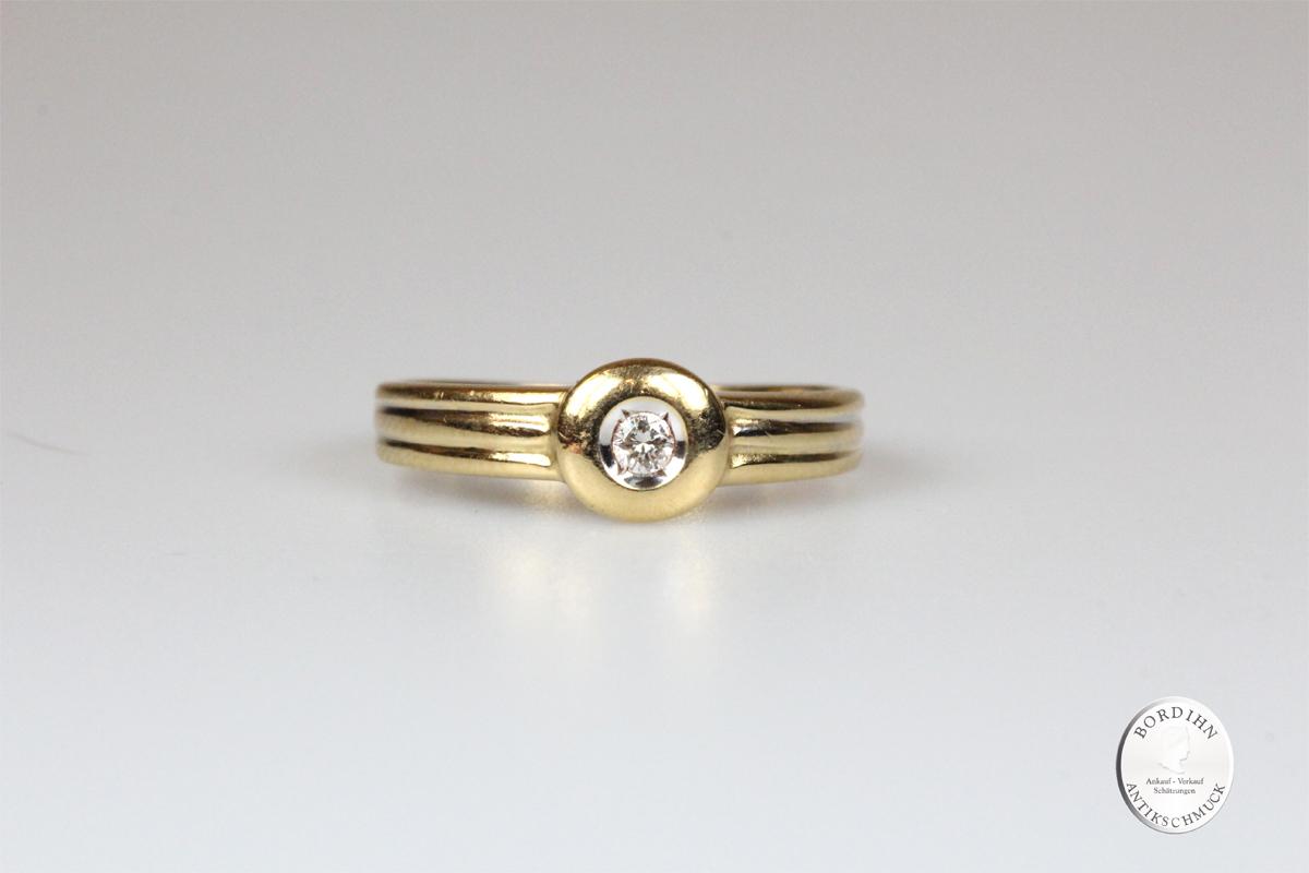 Ring 18 Karat Gold mit Brillant Schmuck Brillantring Edelstein Geschenk