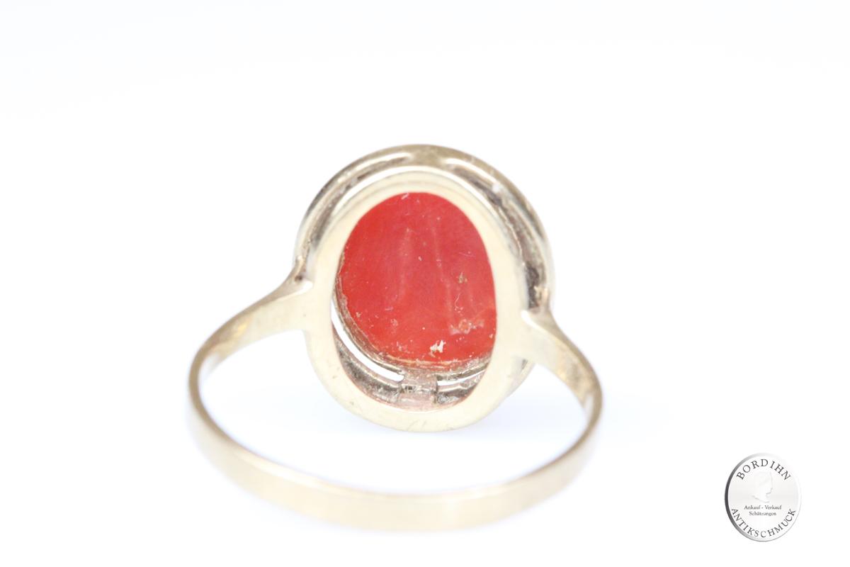 Ring 8 Karat Gold mit Koralle Schmuckring Goldring Fingerring Schmuck