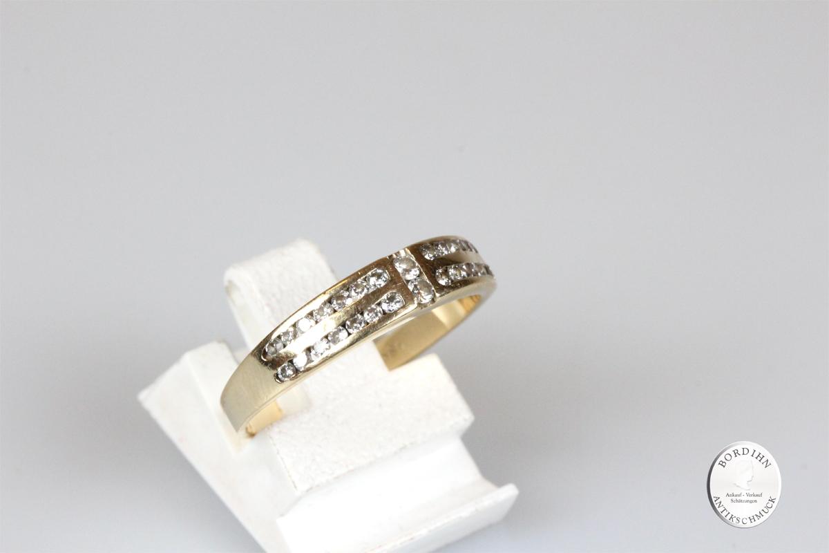 Ring 14 Karat Gold mit Brillanten Schmuck Diamanten Unisex Geschenk
