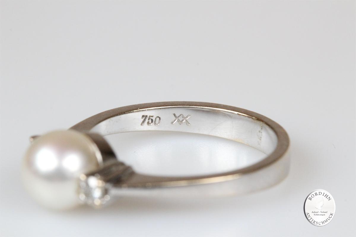 Ring 18 Karat Gold Brillanten Perle Goldring Schmuck Edelsteine Geschenk