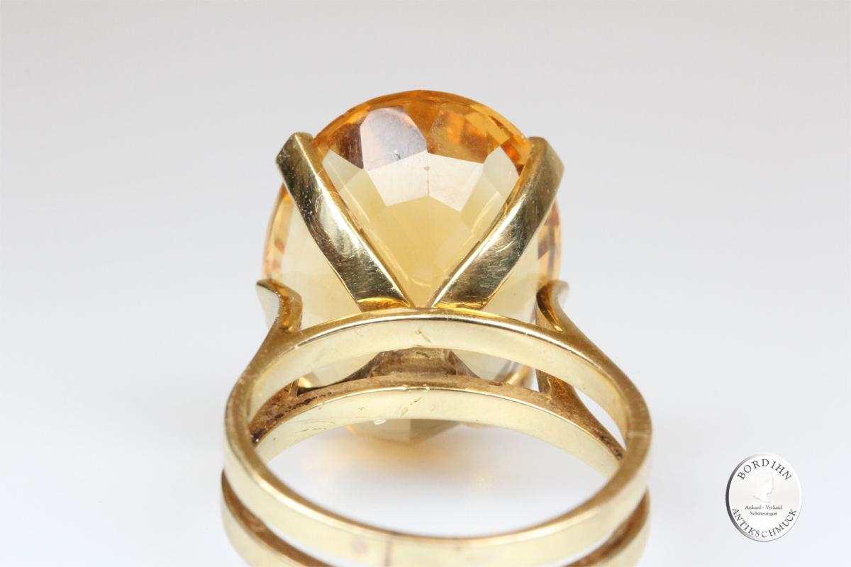 Ring 14 Karat Gold Citrin Schmuck Edelstein Goldring Geschenk Damen