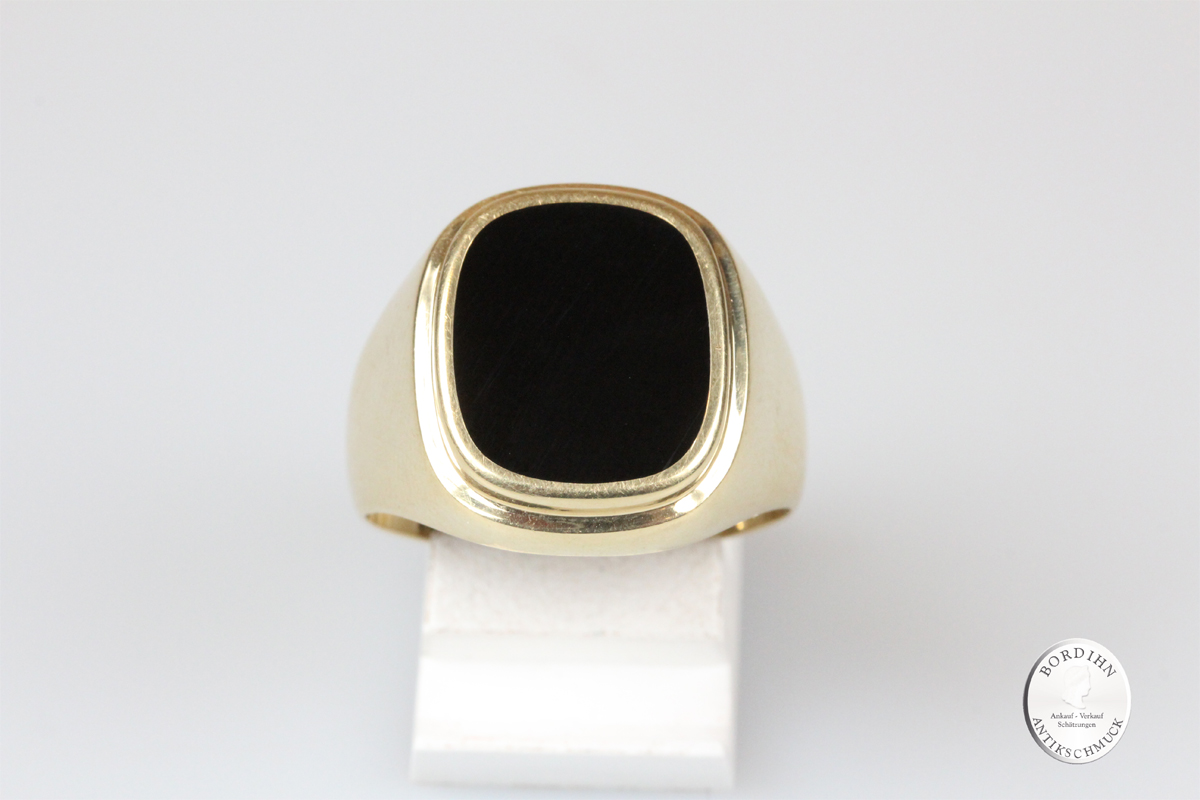Ring 14 Karat Gold Onyx Goldring Schmuckring Herrenring Geschenk