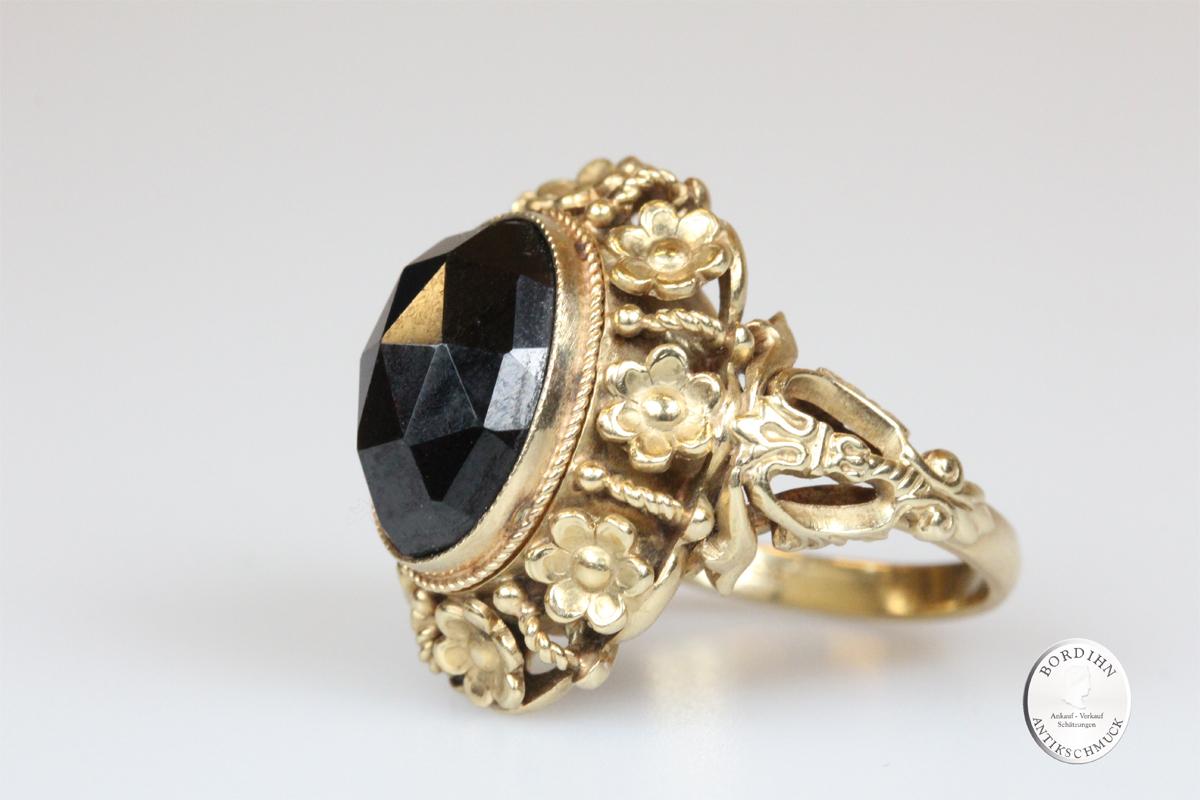Ring 14 Karat Gold Granat antik Goldring Schmuck Ring Damen Geschenk