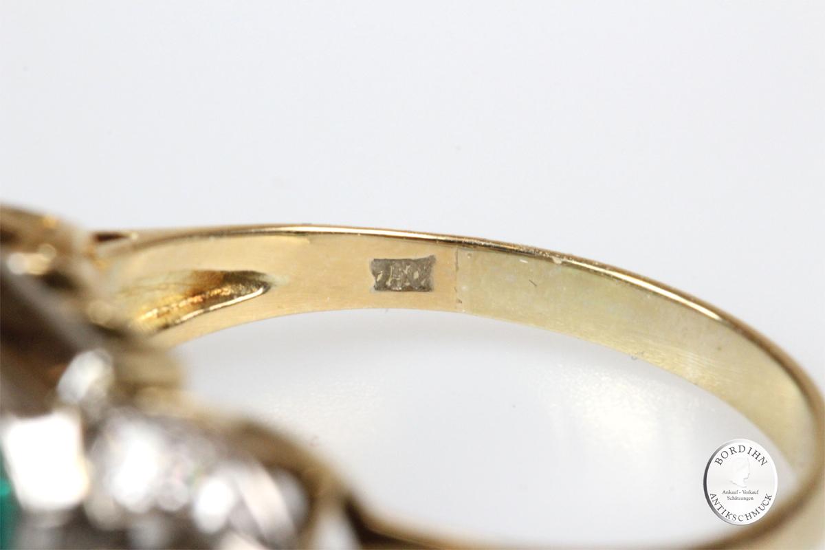 Ring 18 Karat Gold Smaragd Solitär Brillanten Schmuckring Edelstein