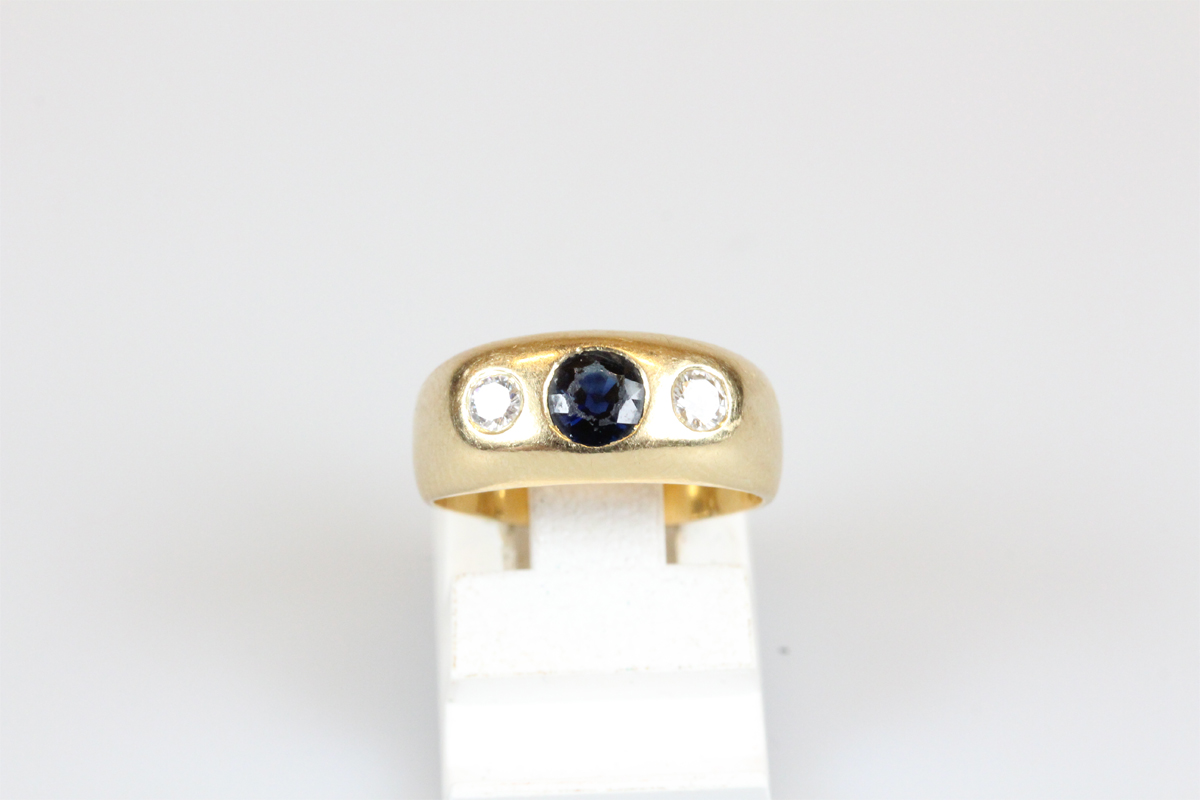 Ring 14 Karat Gold grüner Farbstein Goldring Schmuckring antik Schmuck