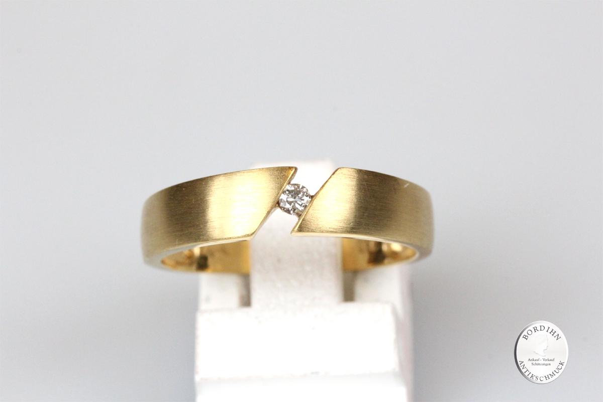 Ring 8 Karat Gold mit Brillant Bandring Goldring Schmuckring Diamant