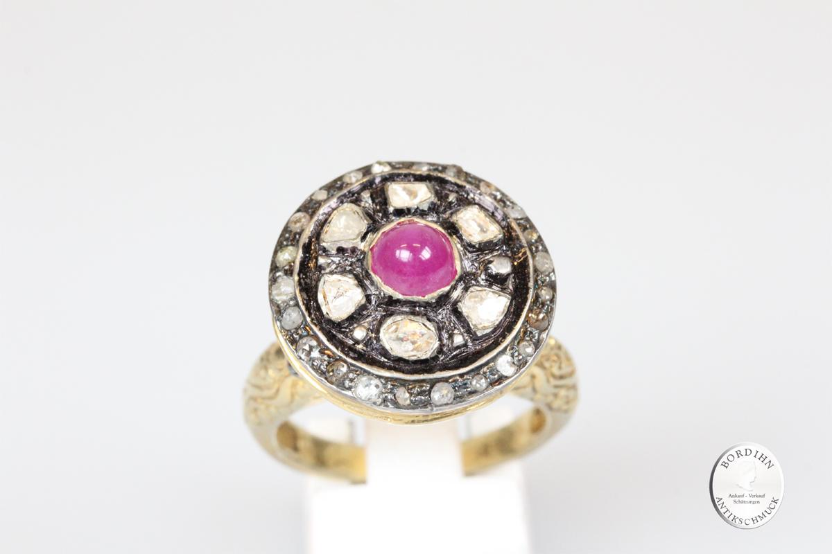 Ring 830 Silber Rubin Diamant Schmuckring Silberring vintage Damen