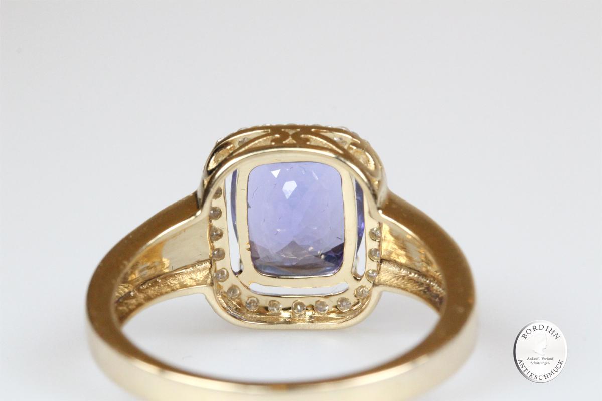 Ring 14 Karat Gold Tansanit Brillanten Edelstein Schmuckring Geschenk