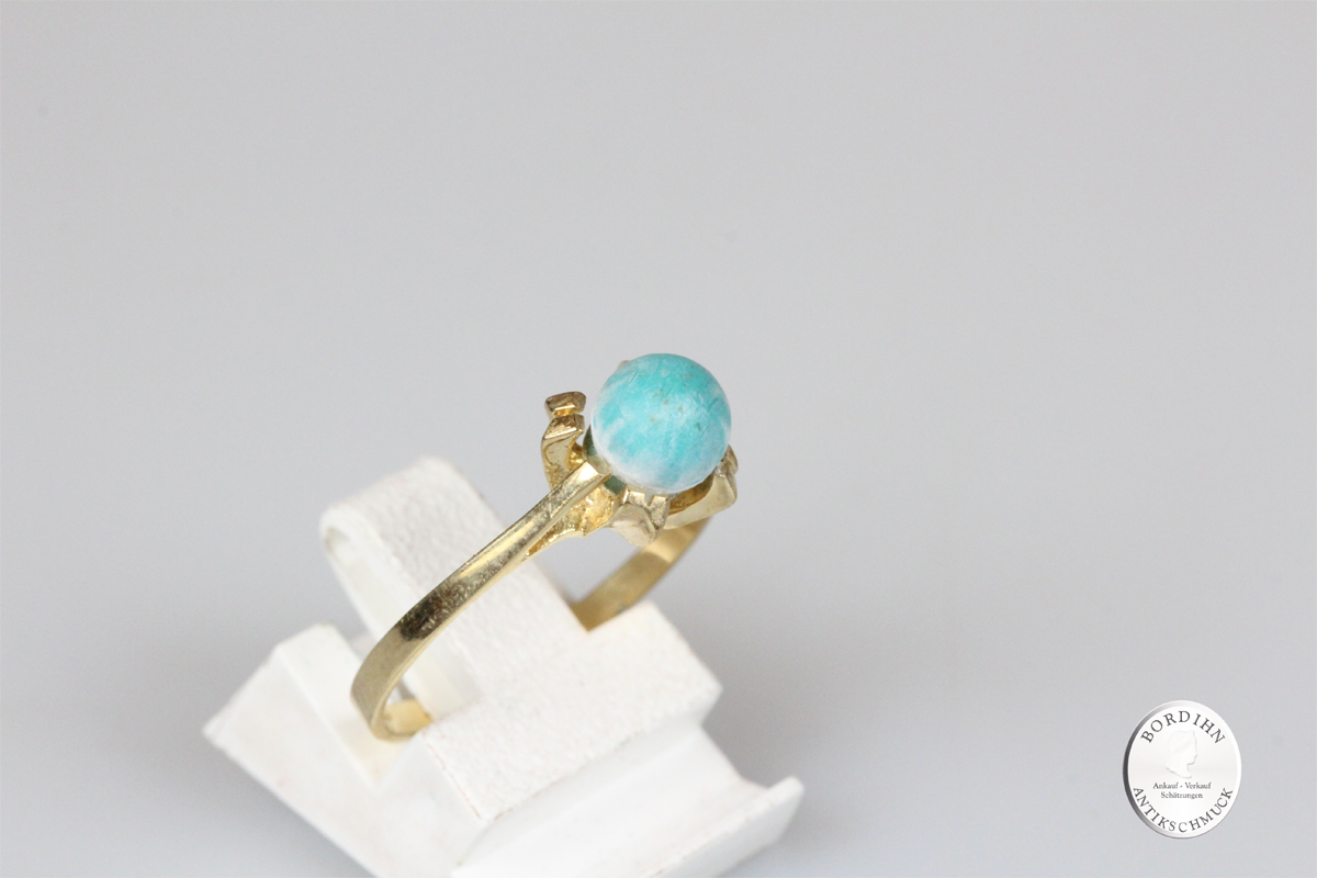 Ring 8 Karat Gold Jade Goldring Schmuck Edelstein Damen Geschenk