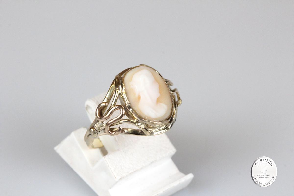 Ring 14 Karat Gold mit Gemme antik Schmuckring Goldring Damen Geschenk