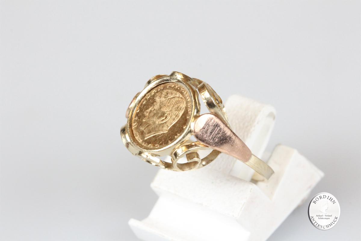Ring 14 Karat Gold mit Kennedy Medaille Münzring Schmuck Geschenk
