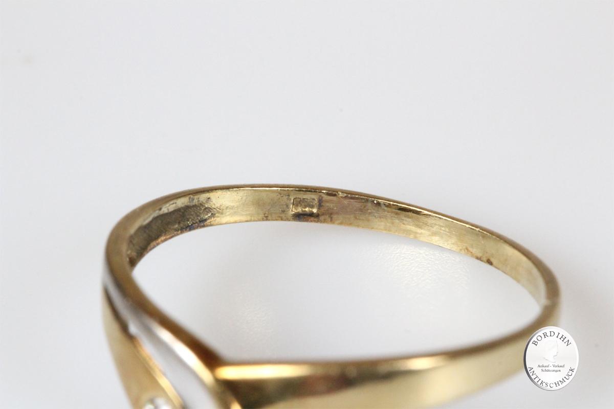 Ring 14 Karat Gold mit Diamant Goldring Schmuck Edelstein Geschenk