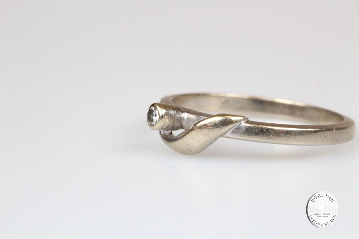 Ring 14 Karat Gold mit Diamant Weißgold Goldring Schmuck Damenring