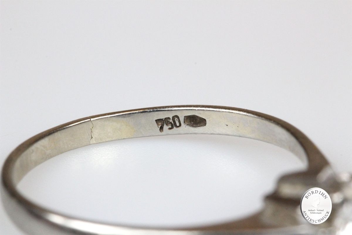 Ring 18 Karat Gold mit Brillant Weißgold Goldring Schmuck Damenring
