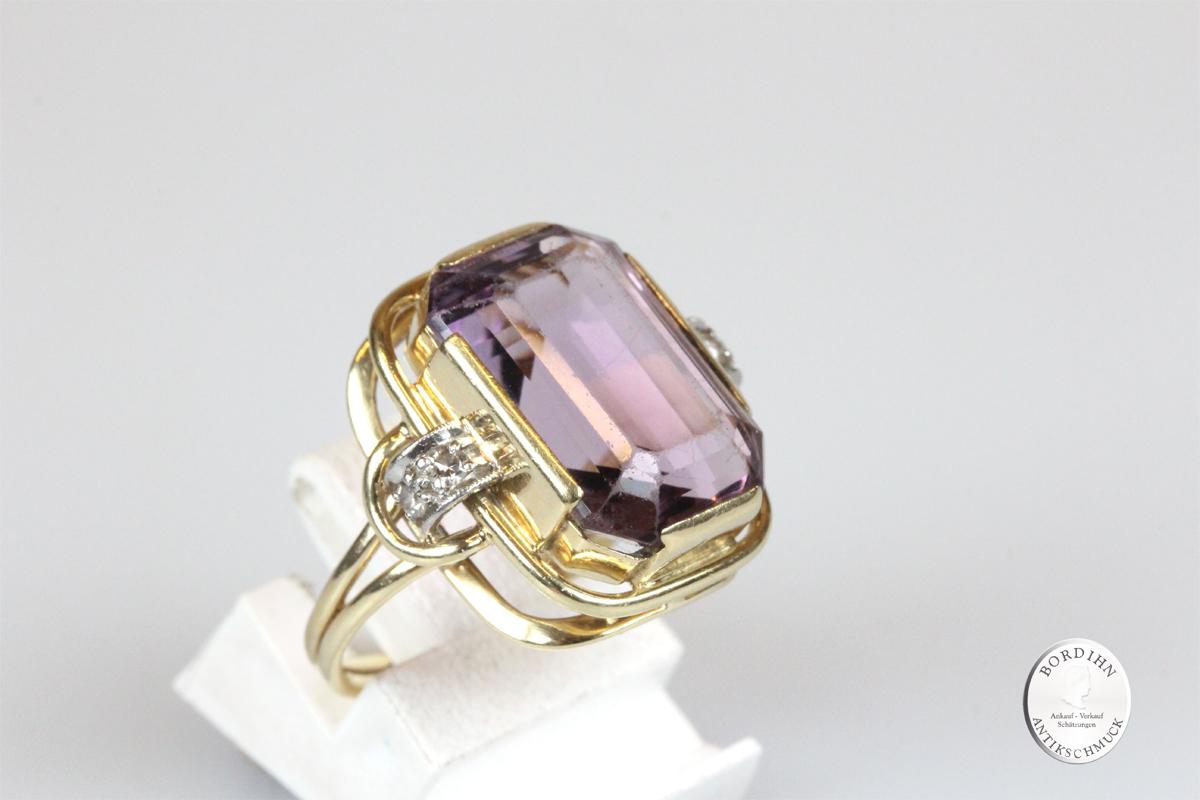 Ring 14 Karat Gold Amethyst Diamanten Goldring Schmuckring Damenring