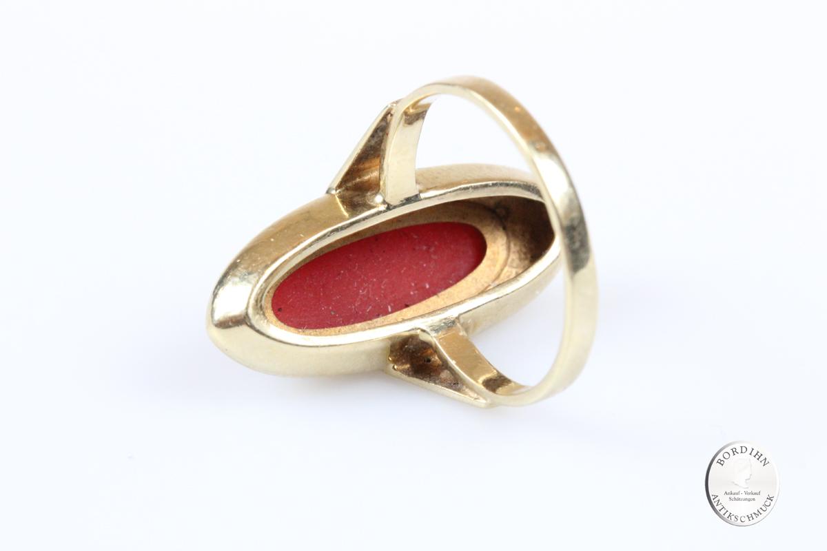 Ring 14 Karat Gold mit Koralle Goldring Schmuckring Schmuck Geschenk