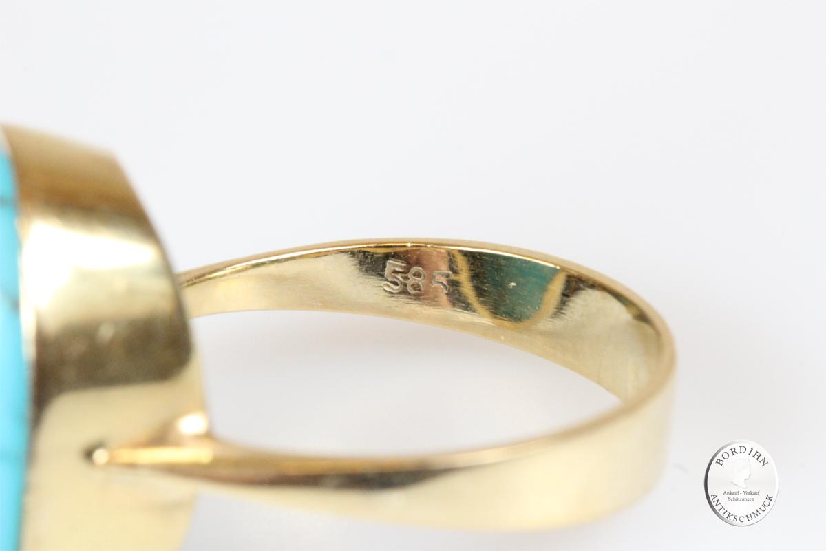 Ring 14 Karat Gold Türkis Goldring Schmuckring Edelstein Damen Schmuck