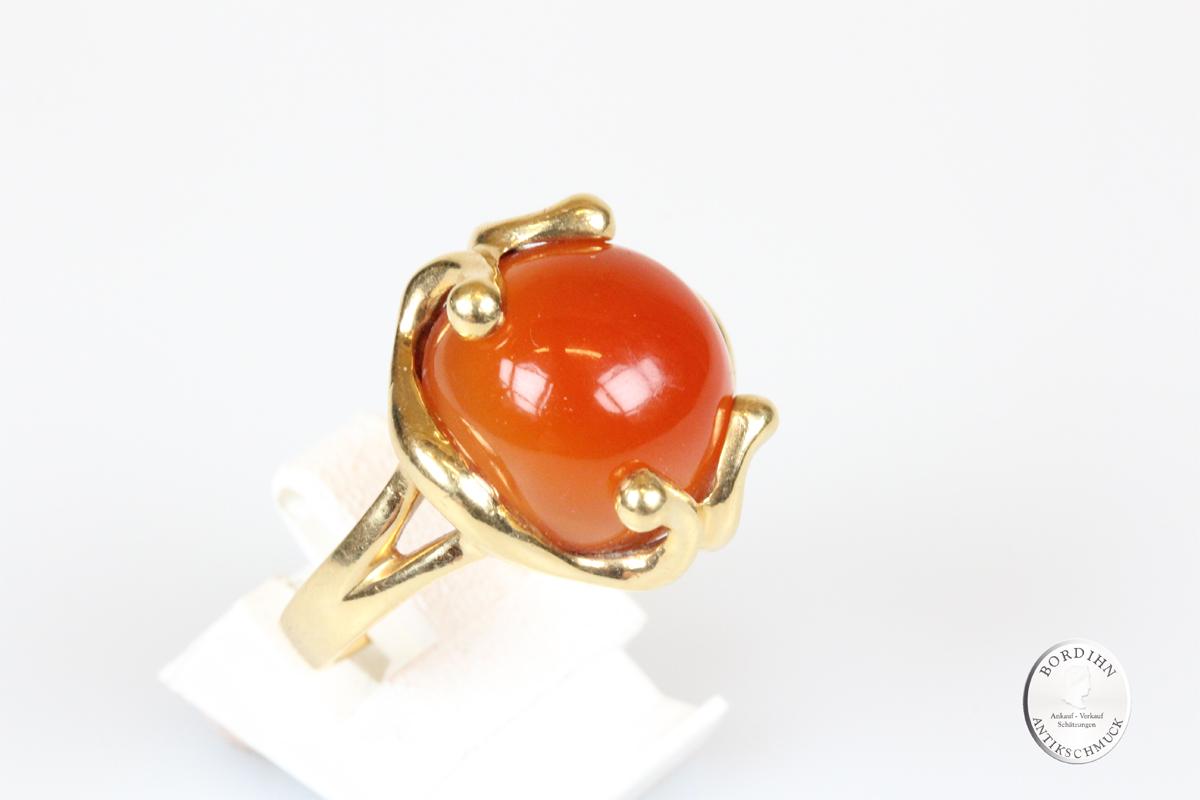 Ring 18 Karat Gold mit Karneol Goldring Schmuckring Edelstein Geschenk