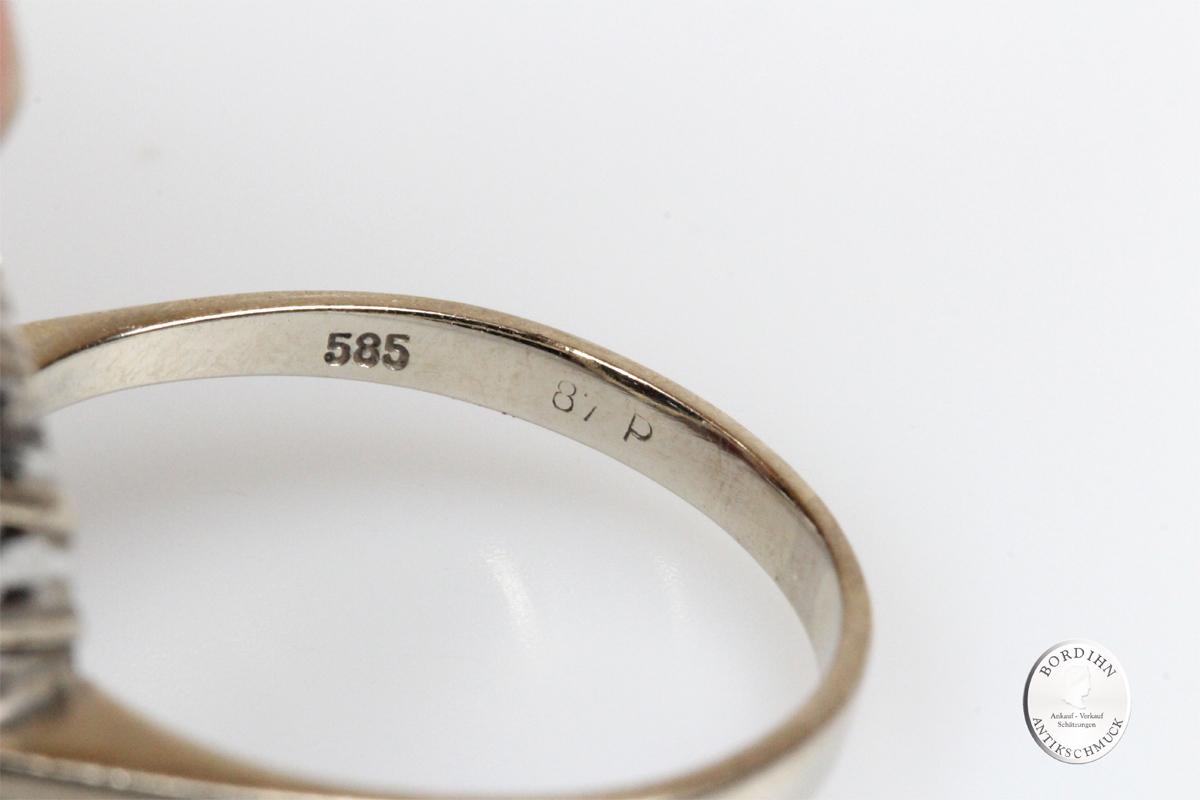 Ring 14 Karat Weißgold Gold 1 Saphir 16 Brillanten Schmuckring Damen