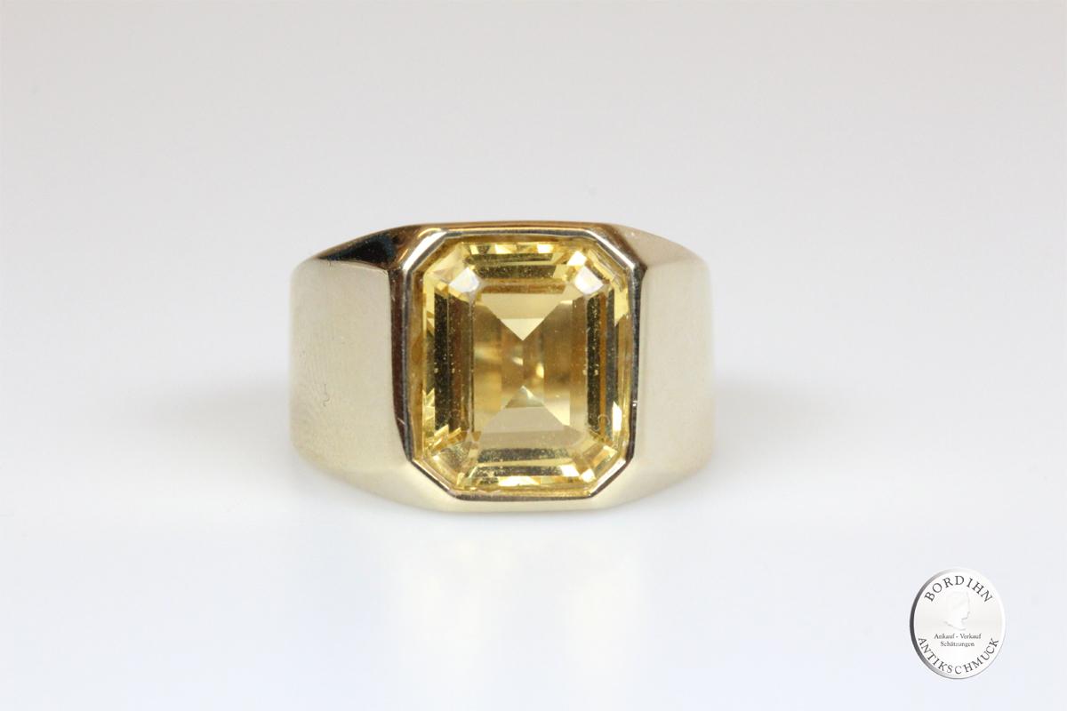 Ring 14 Karat Gold Herrenring Beryll gelb Goldring Edelstein Geschenk